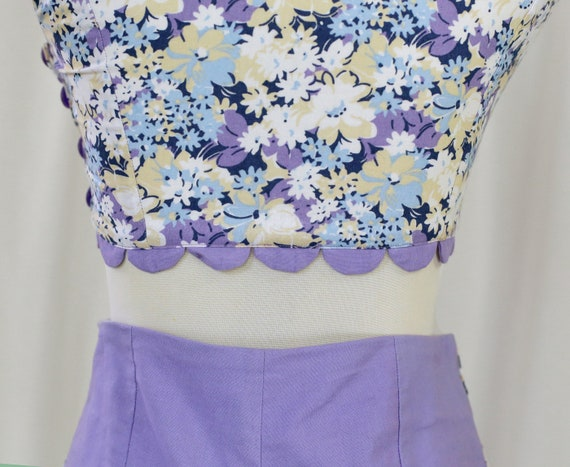 60s Handmade Vintage Purple and  Floral Print two… - image 10