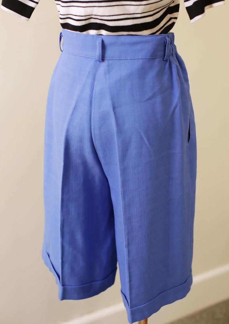 80s Blue High Waist Mid Length Shorts