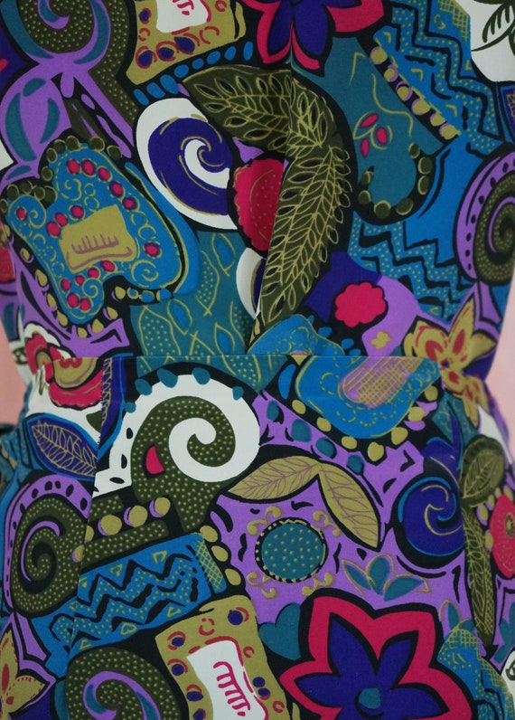 90s Floral and Geometric Pattern Top and Matching… - image 7