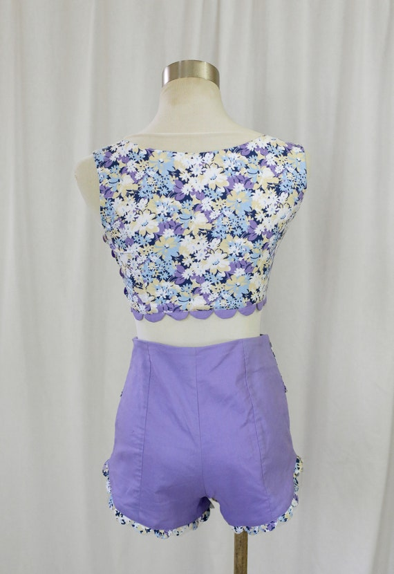 60s Handmade Vintage Purple and  Floral Print two… - image 9