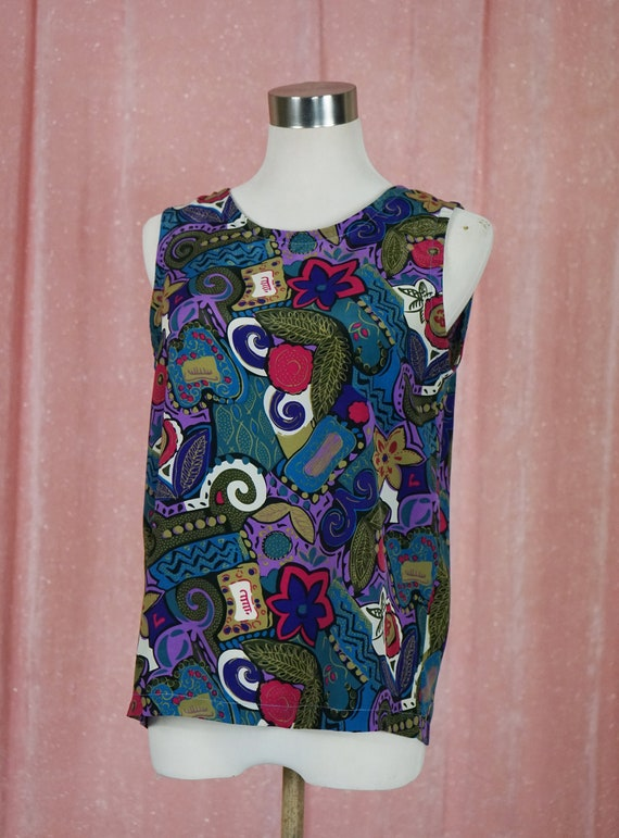 90s Floral and Geometric Pattern Top and Matching… - image 9