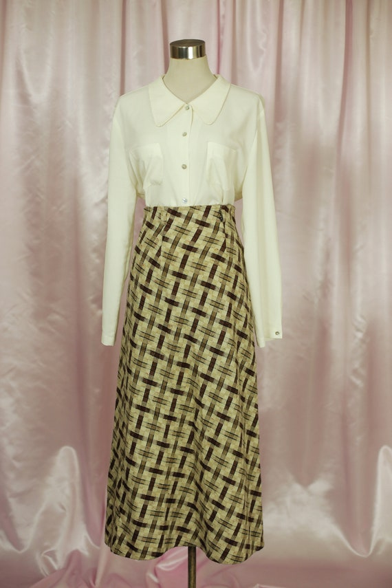 70s Check Brown and Cream Winter Maxi Skirt