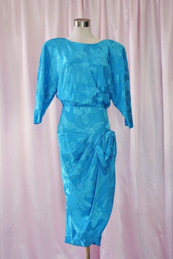 Vintage 80s Blue Silky Floral Dress with Bows and