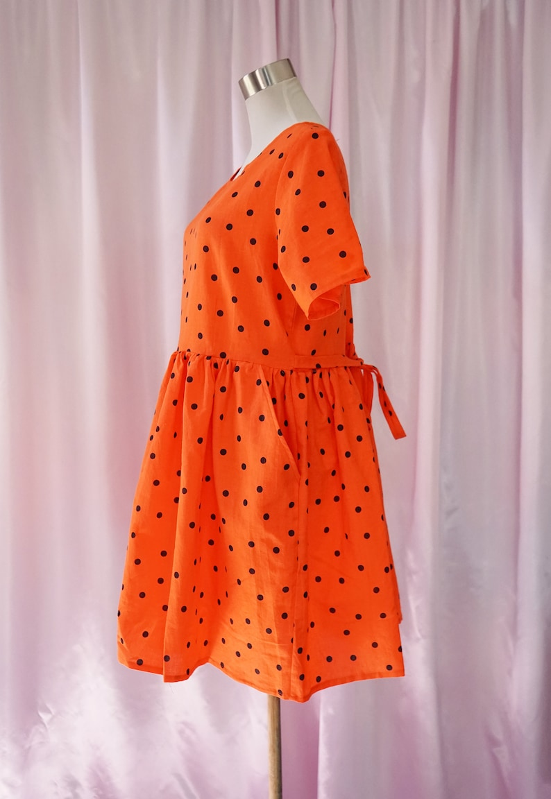 Orange polka dot Smock Dress With Tie and Pockets Mede With Vintage Fabric