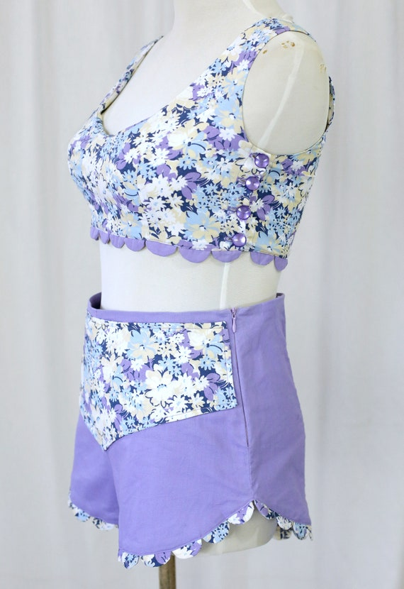 60s Handmade Vintage Purple and  Floral Print two… - image 5