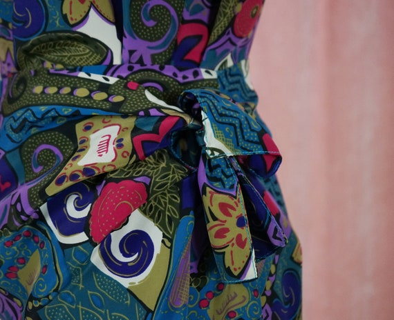 90s Floral and Geometric Pattern Top and Matching… - image 5