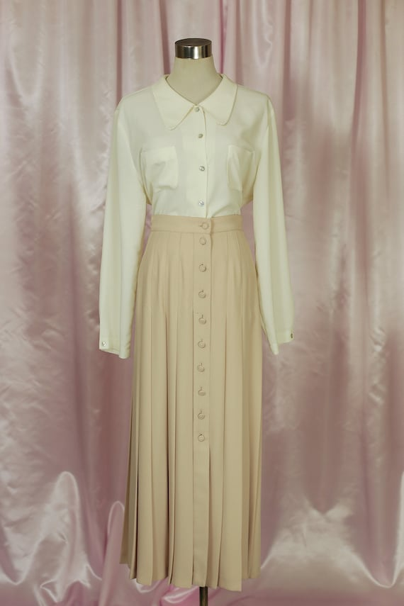Beige 90s Pleated Midi Skirt Audrey Horne Twin Pea