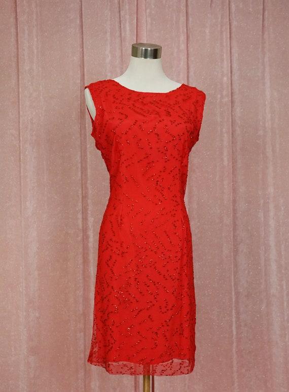 90s Red Mesh and Glitter Mini Dress