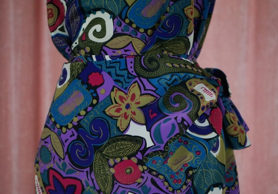 90s Floral and Geometric Pattern Top and Matching… - image 2