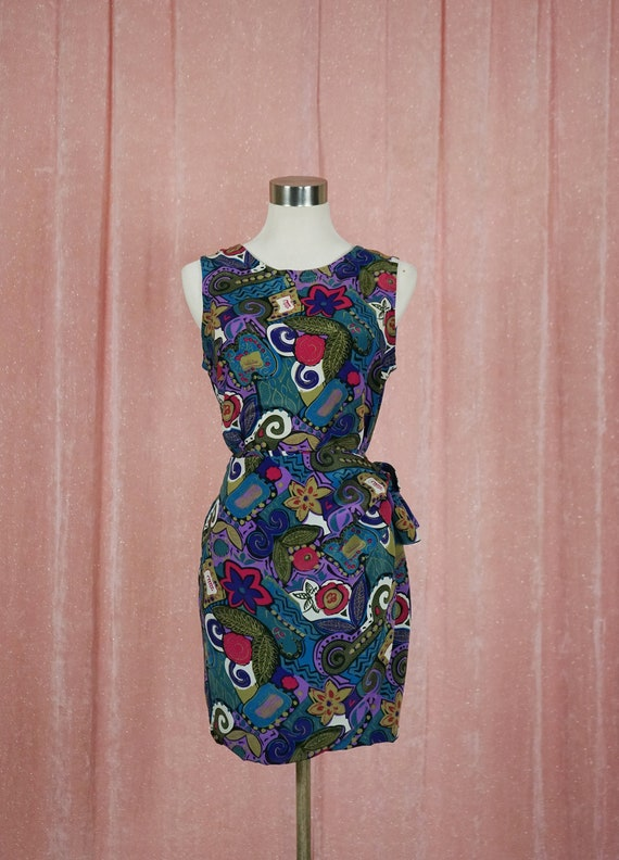 90s Floral and Geometric Pattern Top and Matching… - image 1