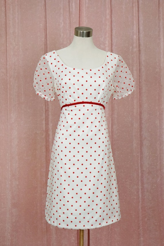 Vintage 60s White with Red Polka Dots Baby Doll Dr