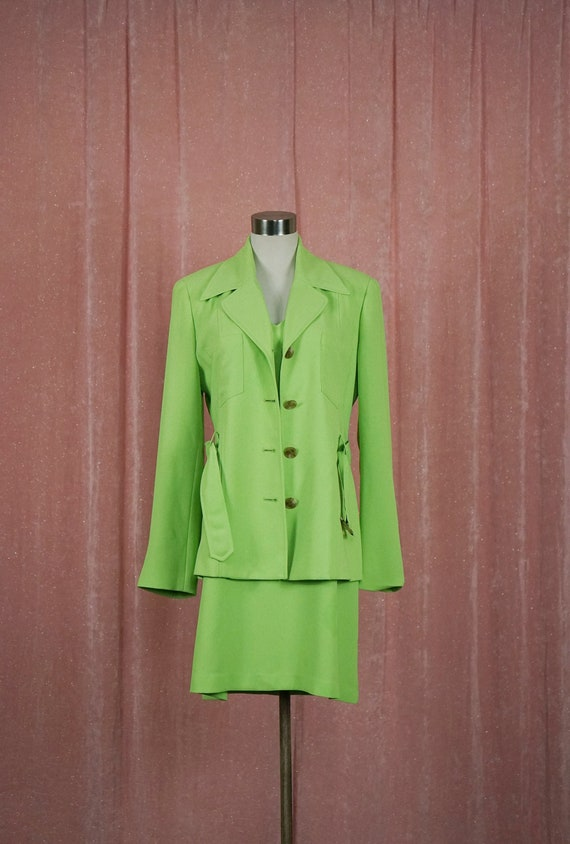Lime Green Polka 90's Dress with Matching Coat 70s