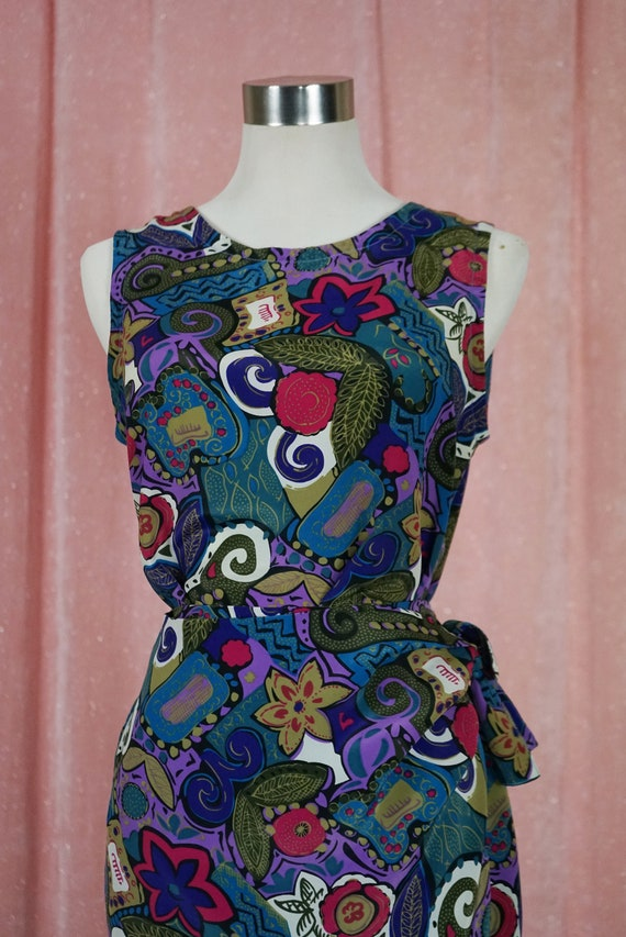 90s Floral and Geometric Pattern Top and Matching… - image 3