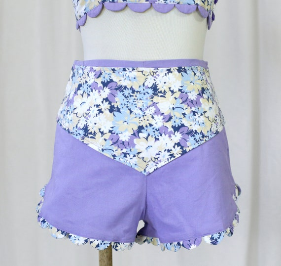 60s Handmade Vintage Purple and  Floral Print two… - image 3