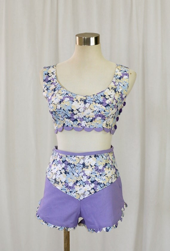 60s Handmade Vintage Purple and  Floral Print two… - image 7