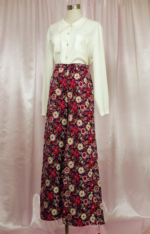 Floral Wide Leg High Waist Pants 70s Baby Cord With Pink And