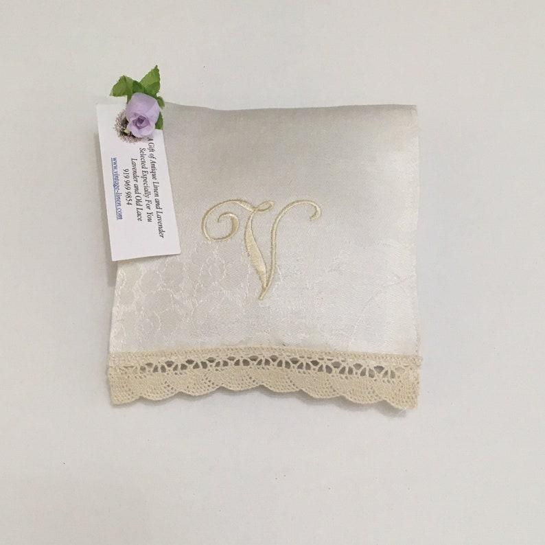 Monogrammed V Lavender Sachet Ecru Letter Vintage Linens Lace image 0