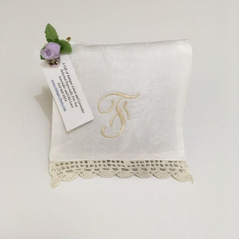 Monogrammed F Lavender Sachet Ecru Letter Vintage Linens Lace image 0