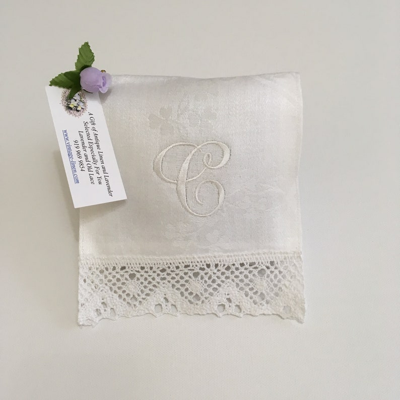 Monogrammed C Lavender Sachet White Letter Vintage Linens Lace image 0