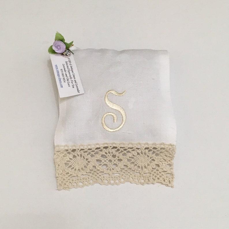 Monogrammed S Lavender Sachet Ecru Letter Vintage Linens Lace image 0