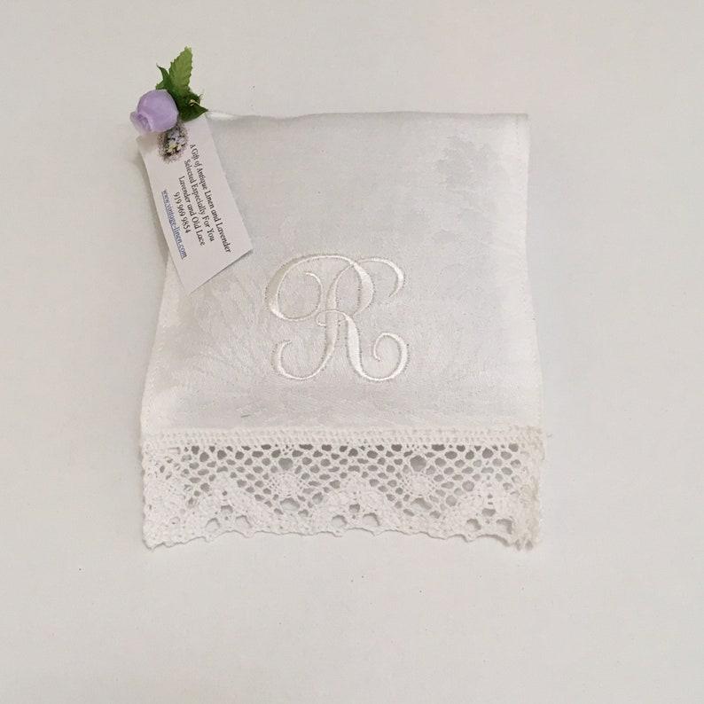 Monogrammed R Lavender Sachet White Letter Vintage Linens Lace image 0