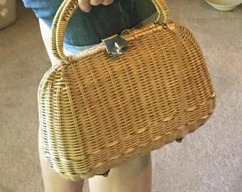 Vintage Wicker Basket Purse