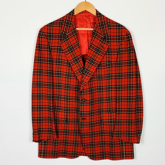 Vintage Men's Red Plaid Jacket / Men's Sport Jacke