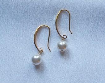 61604d858 8 mm white pearl earrings,dangle earrings,white pearl earrings,Swarovski  pearl earrings,drop earrings