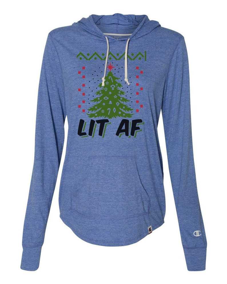 Lit AF Ugly Sweater Christmas Party Collection 1079 Womens Light Weight Champion Brand Hoodies- Thumb Hole Access Holiday Sweatshirt
