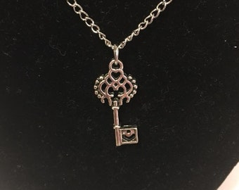 Silver Lock Key Charm Necklace