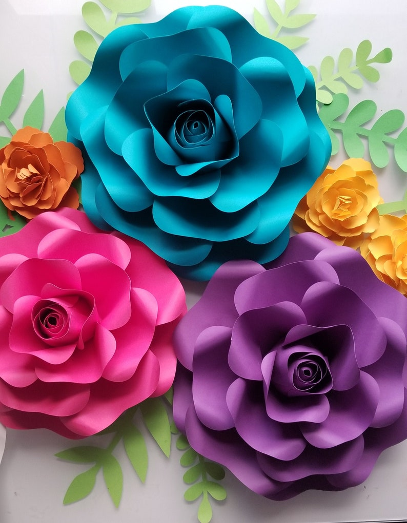 Large Rose Paper Flower Template Svg And Pdf File With Video Tutorial Diy Template Cricut Flower Template Home Decor Party Decor