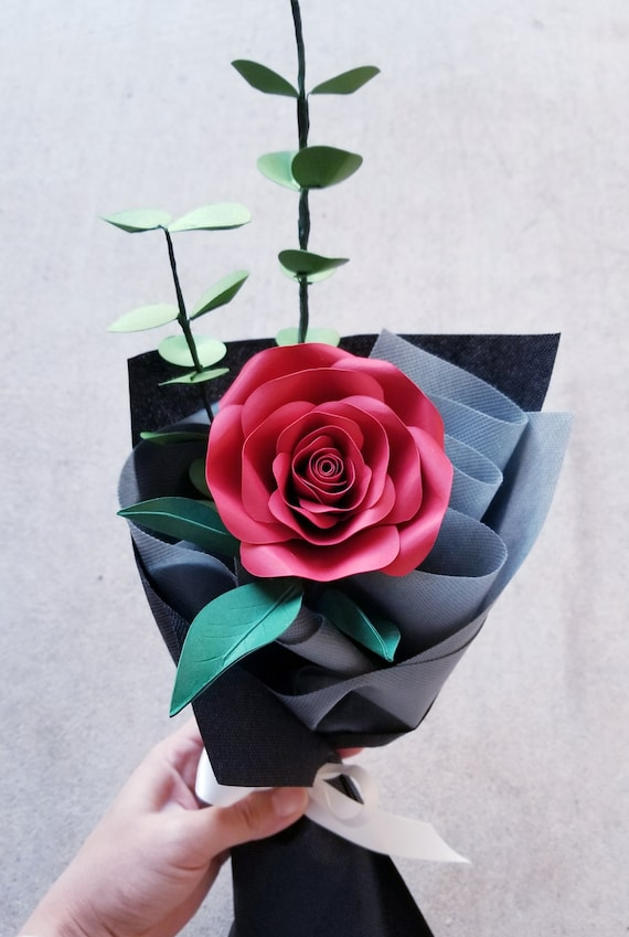 Single Stem Paper Bouqet With Ruffle Wrap Flower Anniversary Gift Valentines Day Flowers Graduation Flowers Flowers Gifts