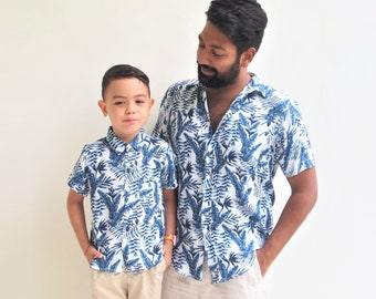 bb7359d7 Father and son matching shirts - Blue leaves, Father and Son Outfit, Hawaiian  shirts, dad and son shirts, matching Outfits, Gift for him,