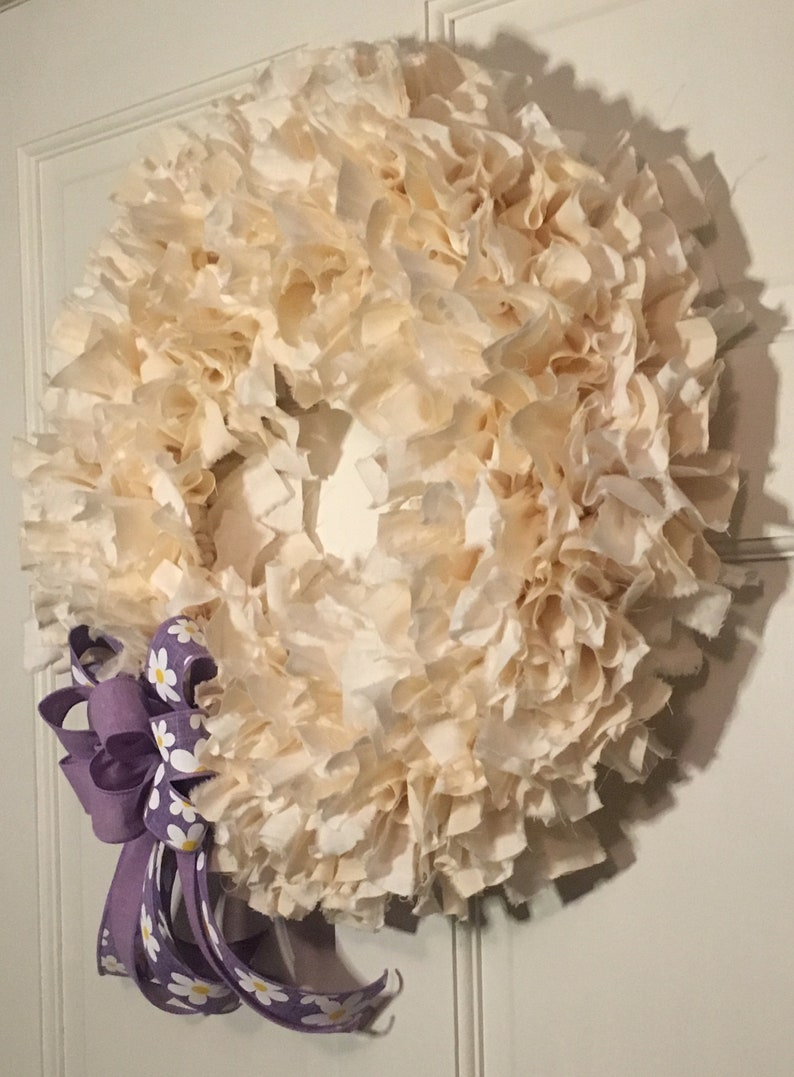 White and Linen Colored Rag Wreath Easter Front Door Decor Treasures by Tricia A. Spring Decor