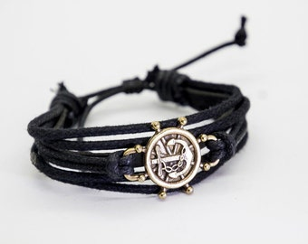 Ship Wheel Charm Bracelet Ship Wheel Bracelet Ship/'s Wheel Bracelet Boat Wheel Leather Bracelet with Sterling Silver Ship Wheel Charm