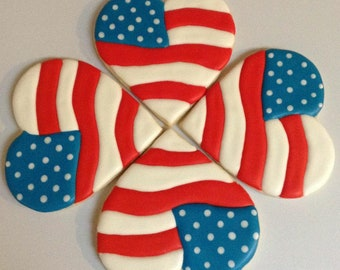 Fourth of July/Independence Day/Patriotic (1 dozen) Fondant Flag Butter Cookies Luisa Pastry
