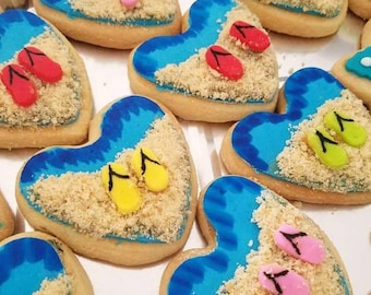 Homemade (1 dozen) Freshly Baked Beach/Sand/Sandals Butter Cookies Heart Luisa Pastry