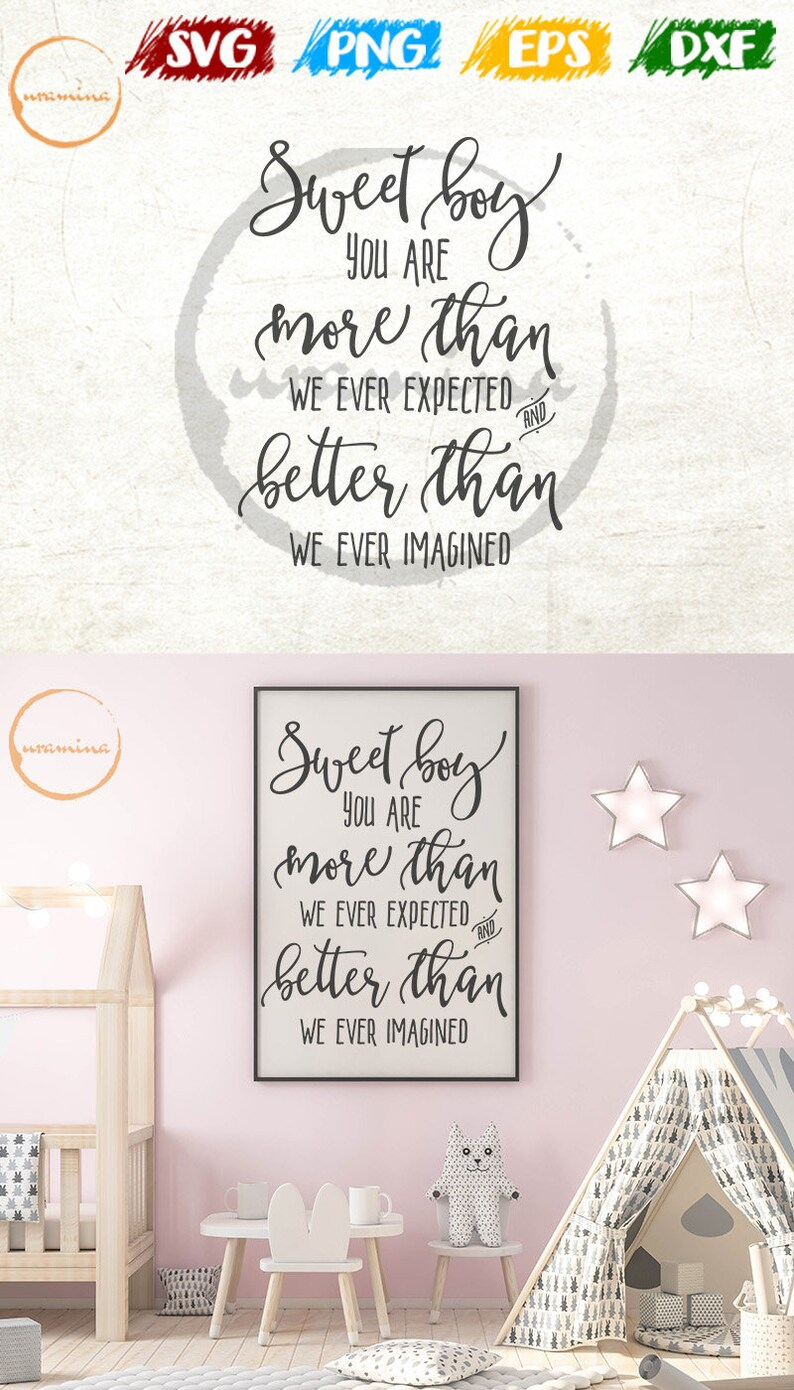 Sweet Boy Room Wall Decor Svg Cut Files For Cricut Silhouette Kids Room Svg Boys Room Art Prints Poster Signs Boys Room Quote