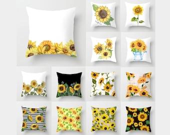 Crochet sunflower pillow case pillow cover throw pillow sunflower cushion gift