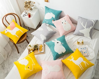 "Kids Animals Girls Cute Home DECO CUSHION COVER Throw PILLOW CASE 18/"" Gift"