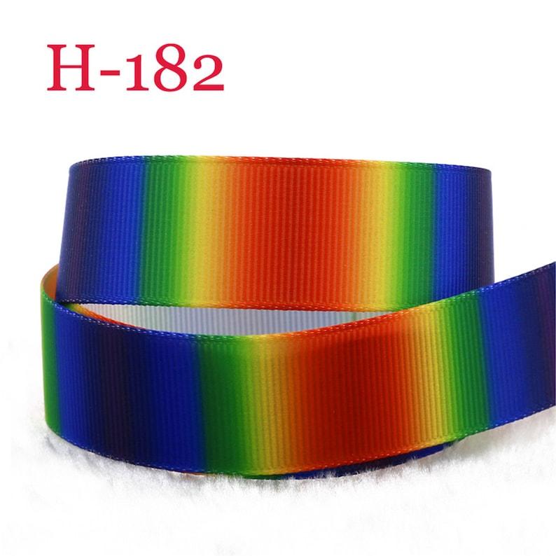 5-10 Yard 1/'/' rainbow Printed Grosgrain Ribbon Hair Bow Sewing Ribbon Optional