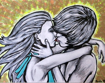 loving couple acrylic painting framed ready to hang
