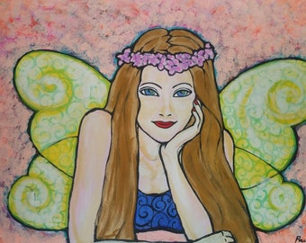 Fairy yellow wings - acrylic on canvas - ready to hang