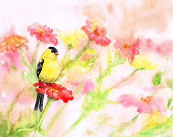 Goldfinch in the flowers Original 8 x 10 watercolor