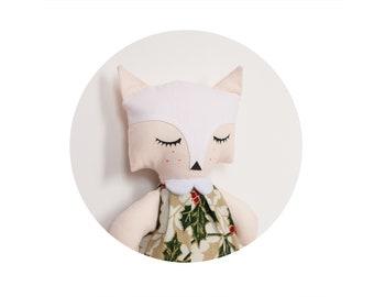 Sleeping fox toy - 22cm tall. Hugable soft toy