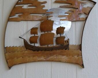 metal art work the ship