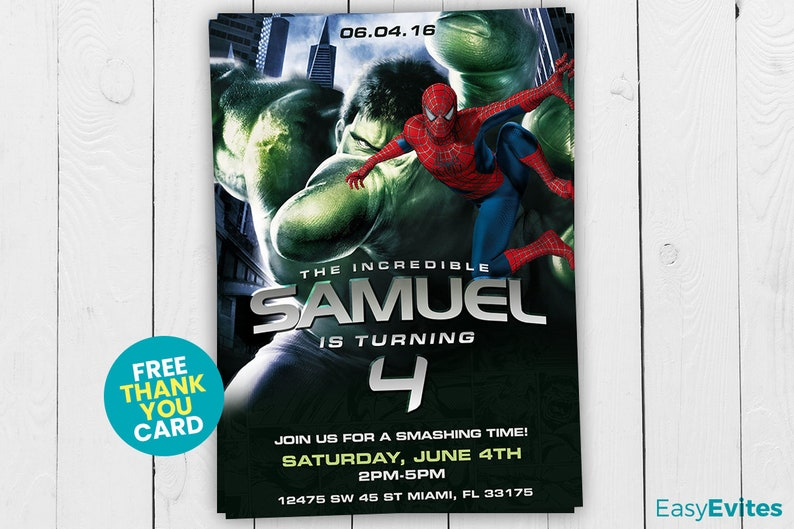 Hulk Invitation Party Spiderman Birthday