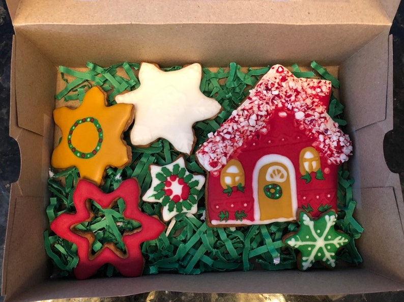 Christmas House And Snowflakes Gingerbread Cookies