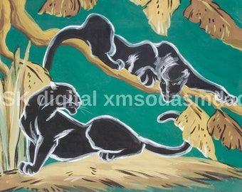 Mid century Black panther print -  Carlo of Hollywood  Style REPRODUCTION PRINT- vintage mid mod art,  atomic cat