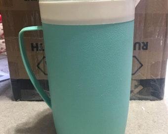 Mid Century Bolero Therm-O-Ware Pitcher, 1950s plastic water jug, 9 inches tall retro pitcher , aqua pitcher ,  atomic kitchen